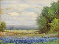 ROBERT WOOD (G. DAY) (1889-1979) Untitled Bluebonnet Landscape Oil on canvas 12in. x 16in. Signed lower left  An early...