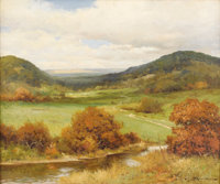 ROBERT WOOD (1889-1979) Under Texas Skies Oil on canvas 25in. x 30in. Signed lower right Signed and titled verso &lt...