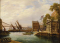 Fine Art - Painting, European:Other , WATTS. View of Tarris. Oil on panel. 20in. x 14-3/4in.. ...