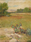 Texas:Early Texas Art - Impressionists, PORFIRIO SALINAS (1910-1973). Untitled Prickly Pear in Bloom, 1935.Oil on canvasboard. 23.5in. x 17.5in.. Signed and dated ...