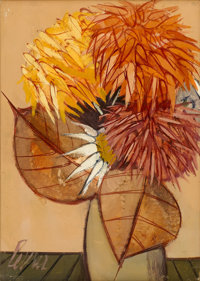 CHARLES LEVIER (American, 1920-2004) Still Life of Flowers Oil on canvas Signed to lower left 14in. x 10in