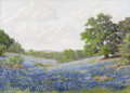 Texas:Early Texas Art - Impressionists, LOUISE SPAIN BRICE (dec.). Untitled Bluebonnets. Oil on linen. 20in. x 28in.. Signed lower right. Louise Spain Brice was a...
