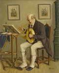Fine Art - Painting, European:Other , HANS KERNER. The Music Maker. Oil on canvas. Signed to lowerright. Marked to verso Imported from Vienna, Austria, the...