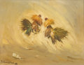 Texas:Early Texas Art - Impressionists, PORFIRIO SALINAS (1910-1973). Fighting Roosters, 1960. Oilon canvas. 12in. x 16in.. Signed and dated lower left. Besi...