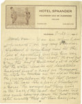 Basketball Collectibles:Others, 1936 James Naismith Handwritten Signed Letter.. Date: July 28,1936.. Location: Volendam, Netherlands.. Length in page...