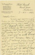 Basketball Collectibles:Others, 1936 James Naismith Handwritten Signed Letter.. Date: July 28, 1936.. Location: London, England.. Length in pages: Two...