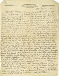 Basketball Collectibles:Others, 1917 James Naismith Handwritten Signed Letter.. Date: November 26,1917.. Location: France (uses Eagle Pass, Texas lette...