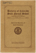 Books:Americana & American History, [Colorado Education]. Bulletin of Colorado State Normal School.Volume V, June 1, 1916, Number 3. Historical Sketches of...