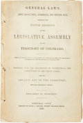 Books:Americana & American History, [Colorado]. General Laws, Joint Resolutions, Memorials, andPrivate Acts, Passed at the Fifth Session of the Legislative...