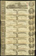 Confederate Notes:1863 Issues, T60 $5 1863 PF-4 Cr. 450 (7); PF-10(1) Eight Examples. ... (Total: 8 notes)