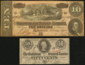 Confederate Notes:Group Lots, T63 50 Cents 1863 PF-UNL. T68 $10 1864 PF-42 Cr. 551.. ... (Total:2 notes)