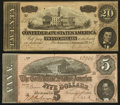 Confederate Notes:Group Lots, T67 $20 1864 PF-6 Cr. 507. T69 $5 1864 PF-10 Cr. 564. ... (Total: 2notes)