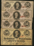 Confederate Notes:1863 Issues, T63 50 Cents 1863 PF-6 Cr. 488; PF-7 (3).. ... (Total: 4 notes)