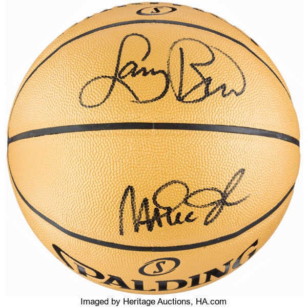 buy online 2ec51 77a9f Larry Bird and Magic Johnson Signed Basketball ...