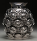 Art Glass:Lalique, An R. Lalique Clear Glass Antilopes Vase with Black EnamelPatina, circa 1925. Marks: R LALIQUE, FRANCE. 10-...