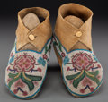 American Indian Art:Beadwork and Quillwork, A Pair of Cree Beaded Hide Moccasins . c. 1890 ... (Total: 2 Items)