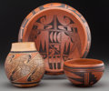 American Indian Art:Pottery, Three Hopi Pottery Vessels. Vernida Polacca Nampeyo, Vivian K.Mumyea, Frieda Poleahla... (Total: 3 Items)