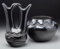 Other, Two Santa Clara Blackware Vessels. Pablita Chavarria and Juanita Pena... (Total: 2 Items)