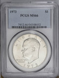 Eisenhower Dollars: , 1973 $1 MS66 PCGS. A suitably struck Premium Gem that has gentle hints of apricot toning across the smooth, satiny surfaces...