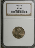1912 5C MS64 NGC. NGC Census: (329/102). PCGS Population (388/186). Mintage: 26,236,714. Numismedia Wsl. Price for NGC/P...