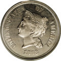 Patterns: , 1868 5C Five Cents, Judd-633, Pollock-704, 705, R.5, PR65 PCGS. Thebust of Liberty is in profile view facing left, wearing...