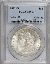 1892-O $1 MS63 PCGS. PCGS Population (1935/1562). NGC Census: (1245/1130). Mintage: 2,744,000. Numismedia Wsl. Price for...