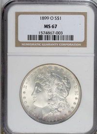 1899-O $1 MS67 NGC. NGC Census: (80/0). PCGS Population (78/1). Mintage: 12,290,000. Numismedia Wsl. Price for NGC/PCGS...
