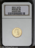 Classic Quarter Eagles: , 1837 $2 1/2 AU50 NGC. Ex: Reed. McCloskey-B, R.3. The usually seen die marriage for this scarcer date within the series. St...