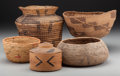 American Indian Art:Baskets, Five American Indian Basketry Items... (Total: 5 Items)