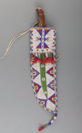 American Indian Art:Beadwork and Quillwork, A Sioux Beaded Hide Knife Sheath and Knife...