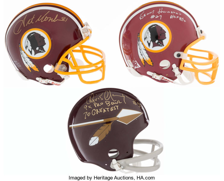 701ea69f Washington Redskins Hall of Famers Signed Mini Helmets Lot of | Lot ...