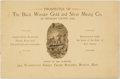 Books:Americana & American History, Prospectus of the Black Wonder Gold and Silver Mining Co. ofHinsdale County, Col. Boston, Mass.: Office of the Company, [n....
