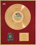 Music Memorabilia:Awards, All This and World War II BPI UK Gold Record Sales Award(Riva RVLP-2, 1976). ...