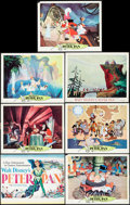"Movie Posters:Animation, Peter Pan (RKO, 1953/Buena Vista, R-1969). Title Lobby Card, Lobby Card, Reissue Lobby Cards (5) (11"" X 14""), & Pressbook (4... (Total: 8 Items)"