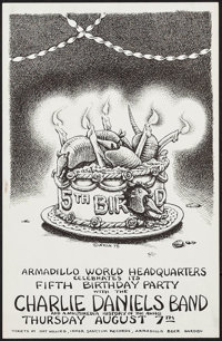 "Charlie Daniels Band at the Armadillo World Headquarters (AWH, 1975). Fifth Birthday Concert Poster (11"" X 17""..."