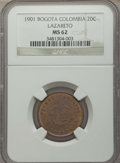 Colombia, Colombia: Republic. Lazareto Leper Colony 20 Centavos 1901 MS62NGC,...