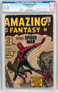 Silver Age (1956-1969):Superhero, Amazing Fantasy #15 (Marvel, 1962) CGC GD 2.0 Off-white pages....