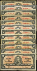 Canadian Currency: , BC-22b $2 1937 Six Examples. BC-22c $2 1937 Six Examples. ...(Total: 12 notes)