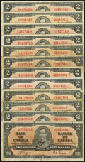 Canadian Currency: , BC-22b $2 1937 Two Examples. BC-22c $2 1937 Ten Examples. ... (Total: 12 notes)