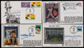 Baseball Collectibles:Others, New York Yankees Legends Signed First Day Covers Lot of 4....