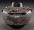 American Indian Art:Pottery, A Santa Clara Etched Black/Redware Jar . Corn Moquino...