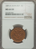 Dominican Republic, Dominican Republic: Republic 5 Centesimos 1891-A MS64 Red and BrownNGC,...
