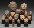 Pre-Columbian:Ceramics, Sixteen Pre-Columbian Heads... (Total: 16 Items)