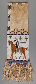 American Indian Art:Beadwork and Quillwork, A Sioux Pictorial Beaded Hide Tobacco Bag. c. 1900...