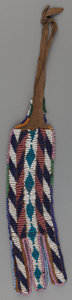 American Indian Art:Beadwork and Quillwork, An Apache Beaded Hide Pouch. c. 1885...