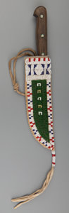 American Indian Art:Beadwork and Quillwork, A Sioux Beaded Hide Knife Sheath and Knife. c. 1910...