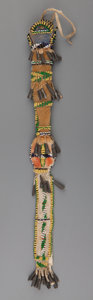 American Indian Art:Beadwork and Quillwork, An Apache Beaded Hide Awl Case. c. 1890...