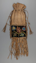 American Indian Art:Beadwork and Quillwork, A Chippewa Beaded Cloth Tobacco Bag. c. 1890...