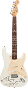 Musical Instruments:Electric Guitars, Bruce Springsteen Signed 1980's Fender Squier Bullet StratocasterOlympic White Electric Guitar. ...