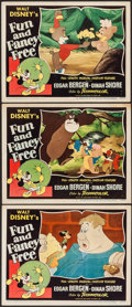 "Movie Posters:Animation, Fun and Fancy Free (RKO, 1947). Lobby Cards (3) (11"" X 14"").Animation.. ... (Total: 3 Items)"